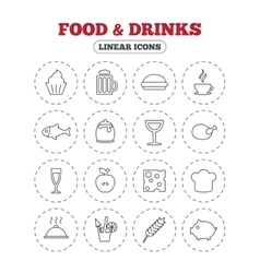 Food and drinks icon beer coffee and cocktail vector