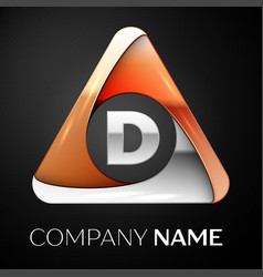 Letter d logo symbol in the colorful triangle on vector