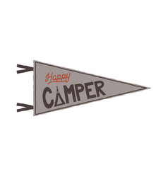 Happy camper pennant template tent and text sign vector