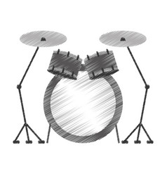 Battery instrument musical icon vector
