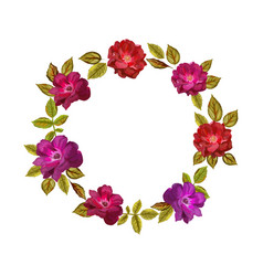 colorful flowers wreath  elegant floral vector image