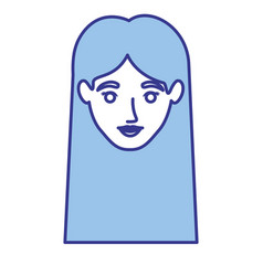blue silhouette of woman with straight long hair vector image