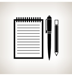 Silhouette notebook on a light background vector