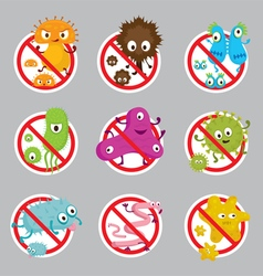 Cute germ characters prohibition sign vector