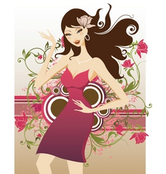 Floral fashion girl vector