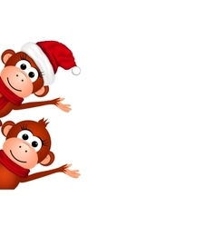 New Year card with monkeys on a white background vector image