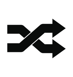 Intersecting arrows black simple icon vector
