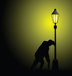 Drunk man with street light vector