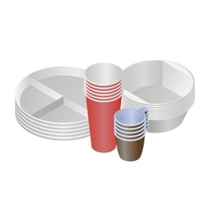 Plastic dishes and plates vector