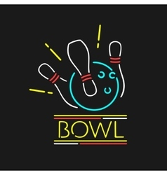 Neon symbol bowling center vector