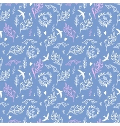Soft blue seamless pattern with flowers and birds vector