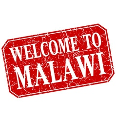 Welcome to malawi red square grunge stamp vector