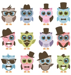 Gentleman and hipster owl icons set vector