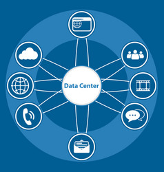 Big data icon set data center and centralized vector