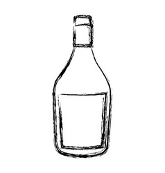 Blurred silhouette wide champagne bottle with vector