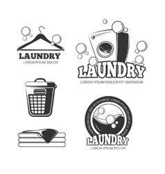 Clean laundry washing vintage labels vector