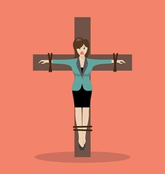 Crucified business woman vector