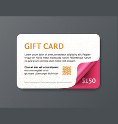 design gift card with gold text and pink glossy vector image