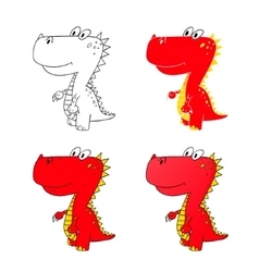 Dino set icon 5 vector