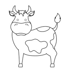 farm cow isolated icon vector image vector image