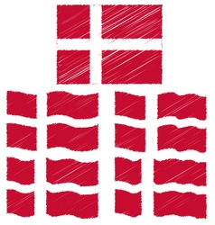Flat and waving hand draw sketch flag of denmark vector