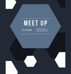 Geometric cover design gray color meet up card vector