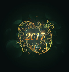 Golden floral decoration for 2017 happy new year vector