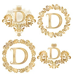 Golden letter d vintage monograms set heraldic vector
