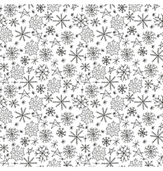 Hand drawn seamless pattern with snowflakes vector