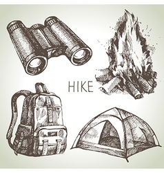 Hike and camping tourism hand drawn set vector image vector image