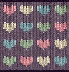 knitted woolen seamless pattern with hearts vector image vector image