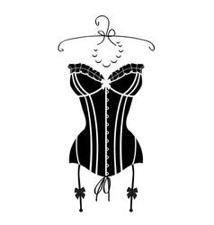 Ladys sexy black vintage corset vector