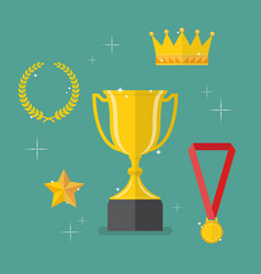 medals awards and achievements icons set vector image