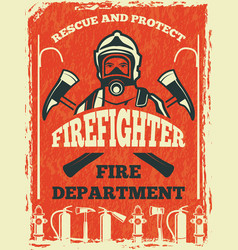 Poster for firefighter department design template vector