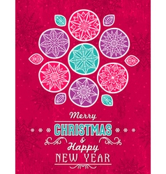 Red grunge christmas card with snowflakes stars vector