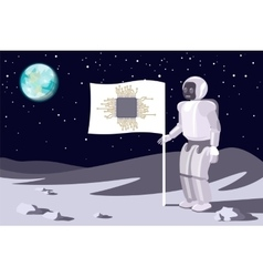 Robot on the moon Banner with a chip Blue earth vector image vector image