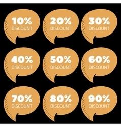 Set of brown percent discount speech bubble sale vector
