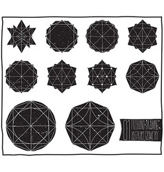 Set with filled black geometric shapes and vector image vector image