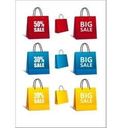 Shopping Bags colorful set vector image vector image