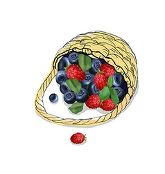 The picture of the basket with scattered berries vector image