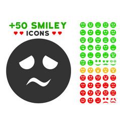 Trouble smiley icon with bonus emotion set vector