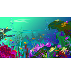 undersea world with fish different vector image vector image