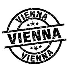 vienna black round grunge stamp vector image vector image