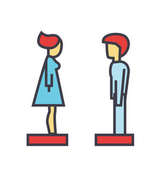 woman and man profile side view avatars vector image
