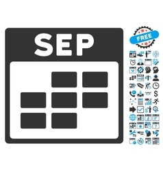 September Calendar Page Flat Icon With vector image
