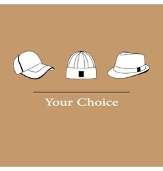 Men fashion hats to choose vector