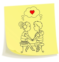 Sticky note with drawn teens couple in love vector