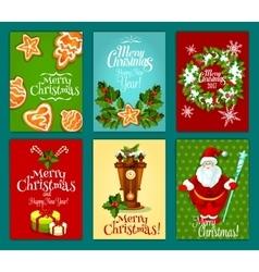 Christmas holiday greeting card and poster set vector image