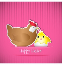 Easter card with chicken and chick vector