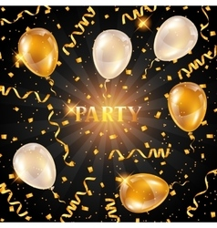 Celebration party background with golden balloons vector